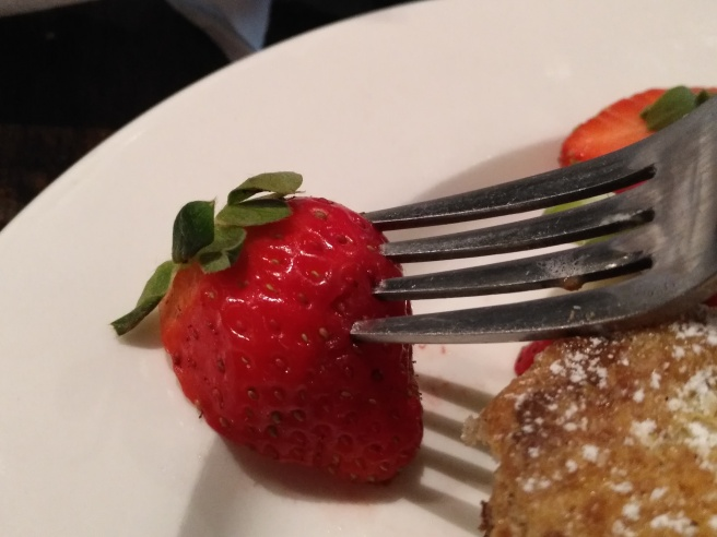 """Between the banana and the strawberry garnish, I'm sure that I""""ve gotten my daily serving of fruit"""