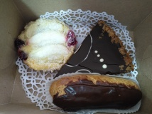 Almond Torte, Chocolate Torte and Eclair