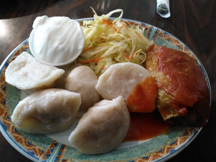 Cabbage Roll & 5 Perogies