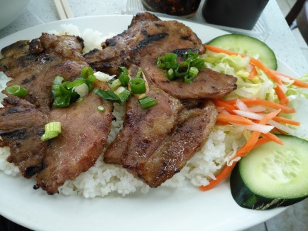 Grilled Lemongrass Pork Chops on Steamed Broken Rice